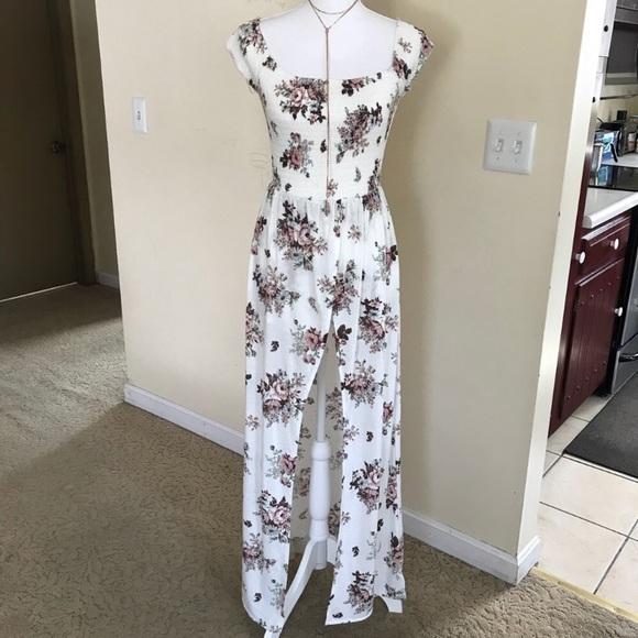 3d430d205d4c White Flower 🌺 Smocked Maxi Dress Romper